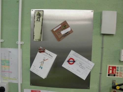 Brushed Stainless Steel Magnetic Notice Board A3 300 x 420mm | eBay
