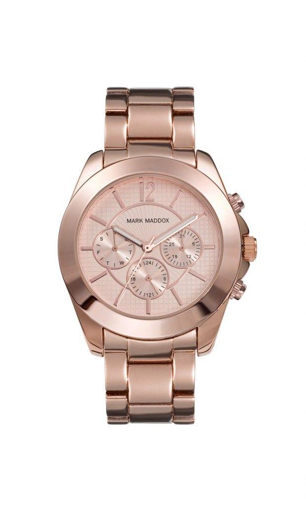 Un diseño sencillo pero elegante. Reloj multifunción brazalete, caja con acabado IP Rosa y cierre desplegable. Cristal mineral e impermeable 30m (3ATM)
