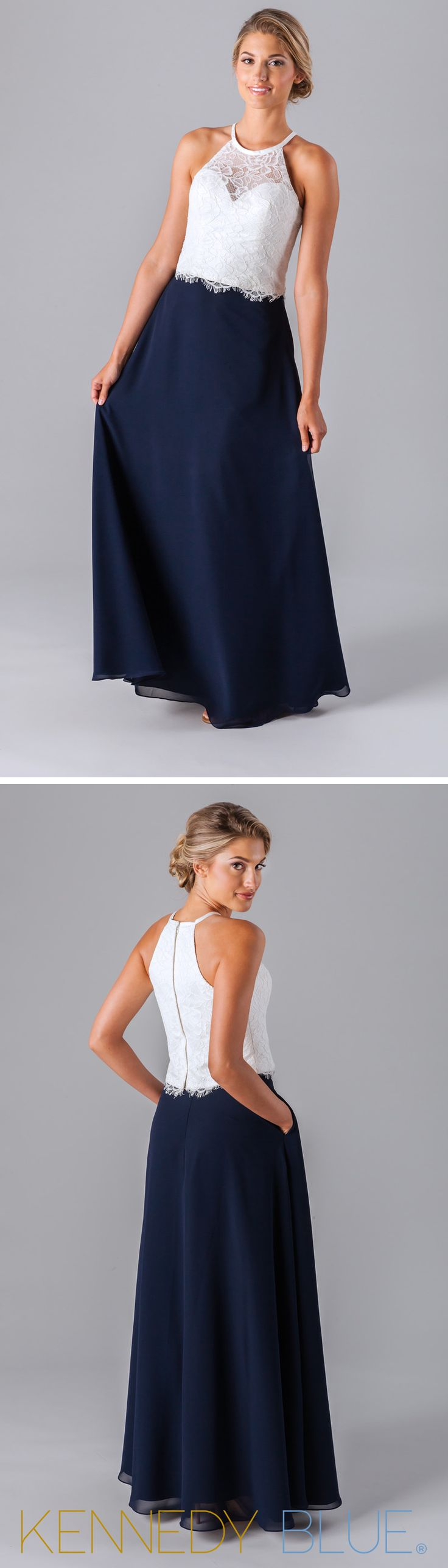 A trendy two-piece bridesmaid dress with a lace top and long chiffon skirt.