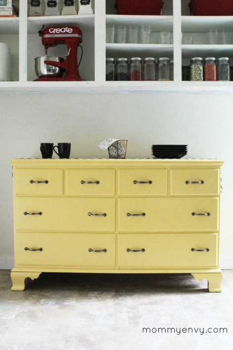 Yellow Kitchen Dresser. A dresser provides you with a lot of storage and doubles as a buffet! Get all the details on www.mydiyenvy.com