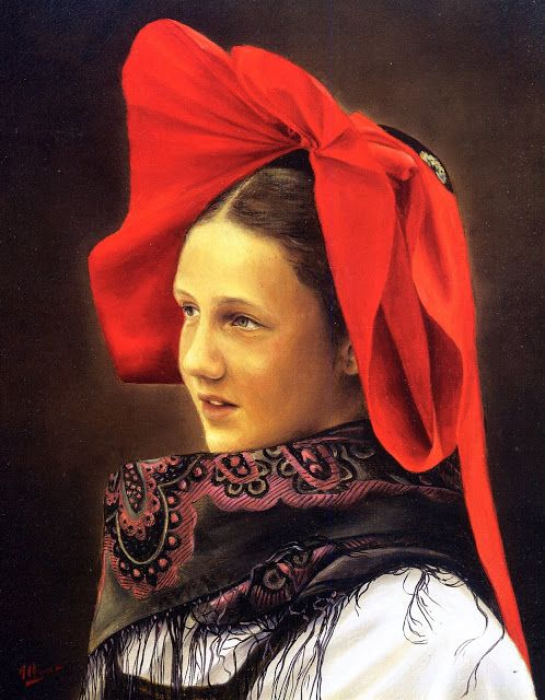 In the majority catholic areas of Haguenau and Geispolsheim, unmarried girls wear red bows - Alsace / Elsass