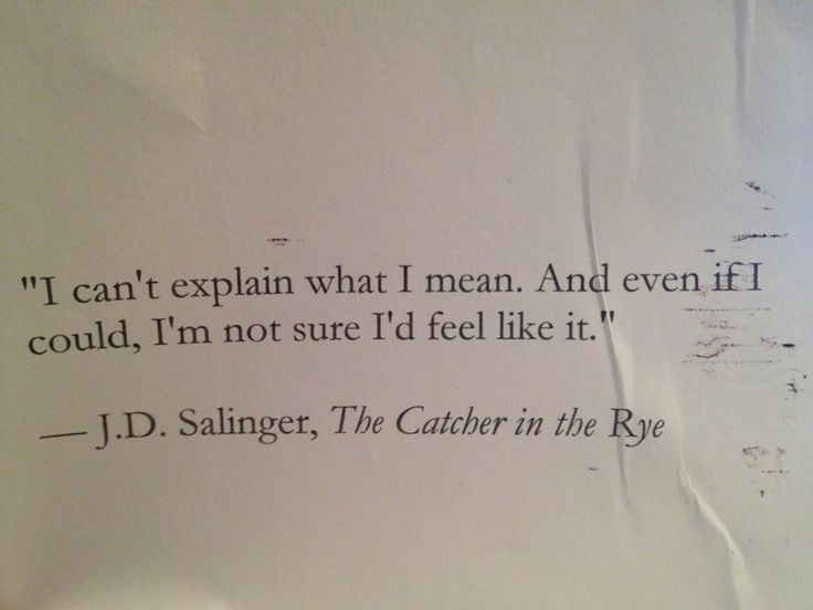 "I can't explain what I mean. And even if I could, I'm not sure I'd feel like it"" - The Catcher in the Rye"