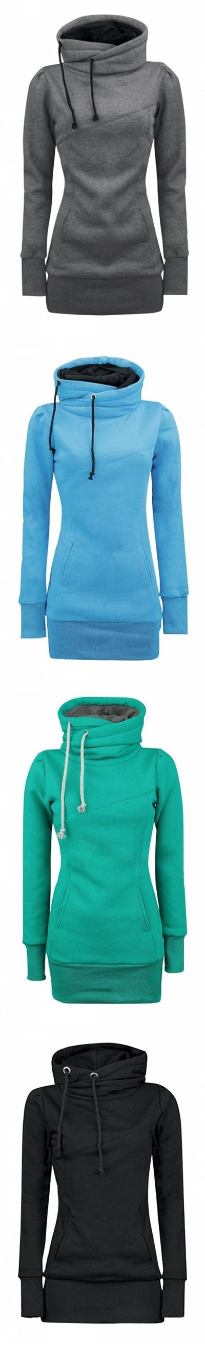 FREE SHIPPING+ womens-solid-turtle-neck-long-sleeve-kangaroo-pocket-sweatshirt