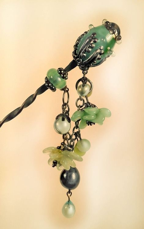 The fruit of my anvil and torch : ) a hairpin with lot's of dangle action. (so much fun to make). Inspired by Japanese Tama Kanzashi, or more specifically, this article in Barbranne's haircomb blog which has some lovely images of Kanzashi from long ago.