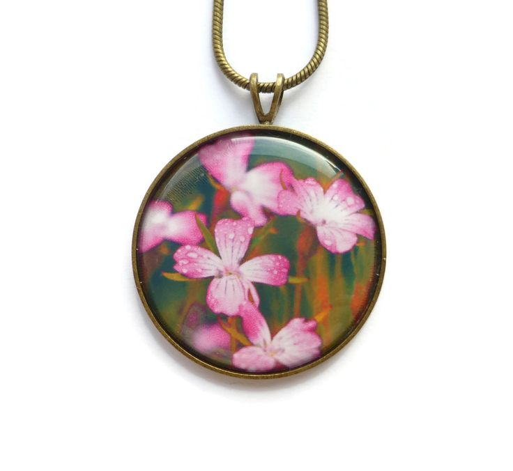 Pink Floral Necklace, Flower Necklace, Gift For Her, Corncockle Necklace, Romantic Jewelry, Boho Necklace, Handmade Jewelry by Larryware on Etsy