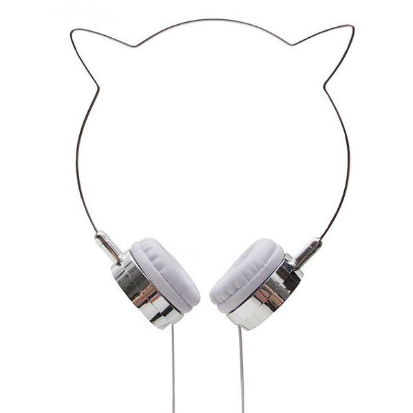 Zara Martin Kitty Headphones (£25) ❤ liked on Polyvore featuring accessories, electronics, headphones, grey and jewelry