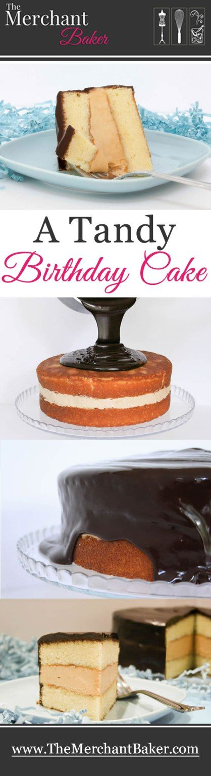 A Tandy Birthday Cake! Buttery yellow cake with a creamy peanut butter filling and covered with a rich dark ganache.