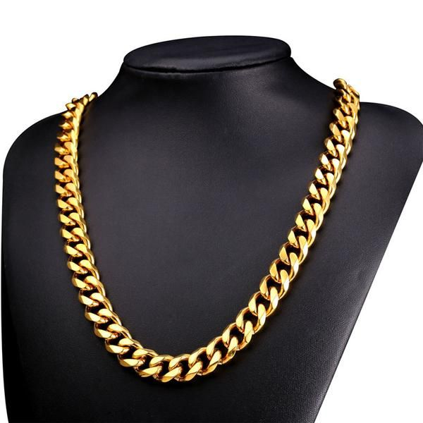 Mens 24 Thick Heavy Curb Link Chain 24 K Solid Gold Finsh Miami Cuban Chain Hip Hop Free Shipping Sufficient Supply Jewelry & Accessories