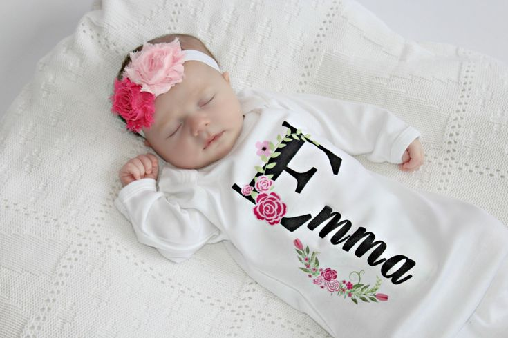 Personalized Baby Gift Girl Newborn Girl Coming Home Outfit Personalized Baby Girl Clothes  Baby Clothes Infant Gown Baby Outfit by sassylocks on Etsy https://www.etsy.com/listing/482585086/personalized-baby-gift-girl-newborn-girl
