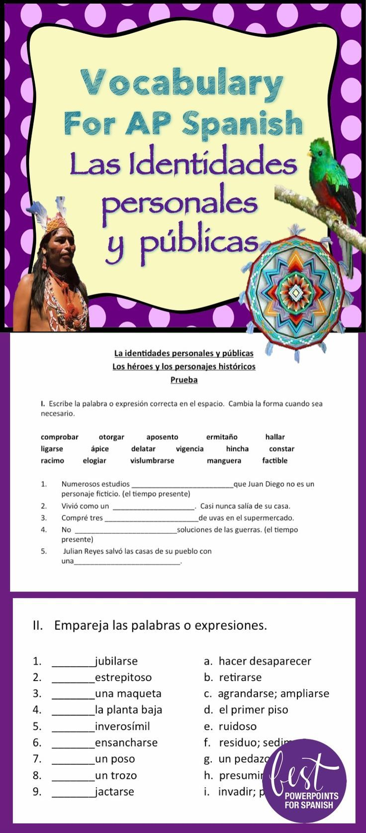 "Would you like your students to be successful on the AP Spanish Language and Culture exam?  Prepare them with these vocabulary activities and assessments that supplement the book, ""Triángulo Aprobado"" chapter four, ""Las identidades personales y públicas"". The vocabulary covers the ""Lecturas, Fuentes auditivas, Cápsulas culturales, Ilustraciones, gráficos, Correos electrónicos, Ensayos,"" and ""Audios."" It includes language in context, Quizlet, quizzes and more.  See what else is included."