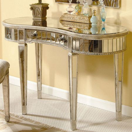 One-drawer+vanity+with+beveled+mirrored+panels+and+kent+legs.+  ++++Product:+Vanity+++Construction+Material:+Mirr...