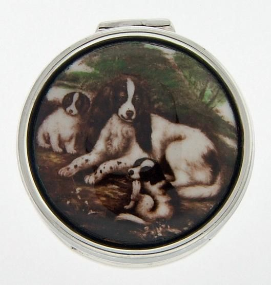 Porcelain Top Silver Pillbox w/ 3 Dogs $83.25