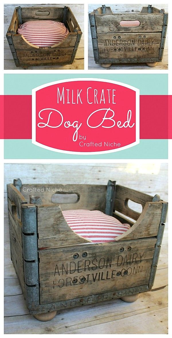 Make a cool milk crate dog bed... in minutes! Isn't this gorgeous? By Crafted Niche, featured on I Love That Junk... I CAN'T BRING MYSELF TO DESTROY A ANTIQUE VINTAGE CRATE!! BUT... If It's Flawed, It's Becoming A Dog Well CAT BED (Doggies Way To BIG!!)