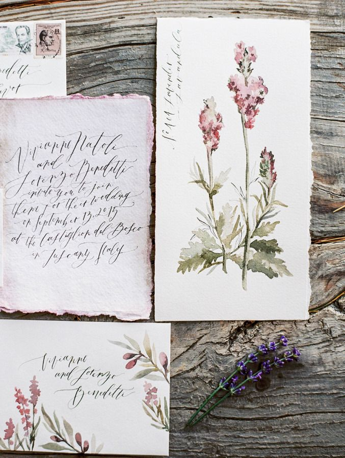 Handpainted invitation & stationary inspiration via Wildfield Paper Co.