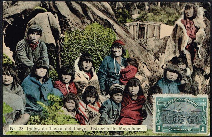 2429 CHILE INDIANS INDIOS TIERRA DEL FUEGO ESTRECHO DE MAGALLANES POSTCARD 1910