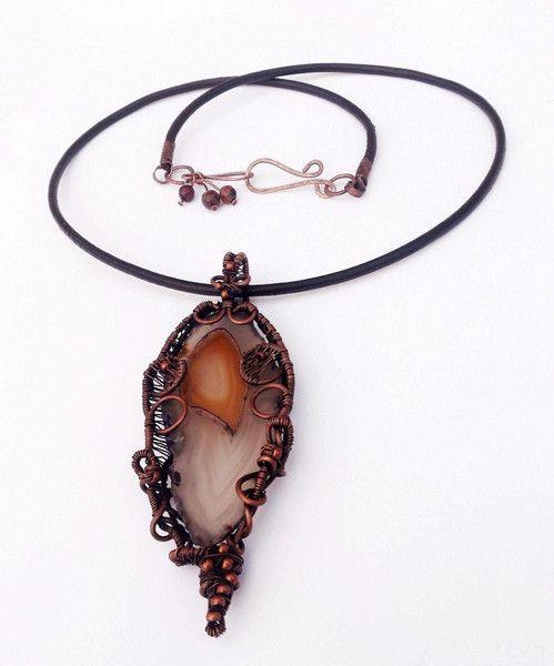 """by SHINE  """"PRELUDIUM"""" WISIOR z Miedzi z agatem w  Biżuteria ze Szczyptą  Magii * by SHINE na DaWanda.com"""