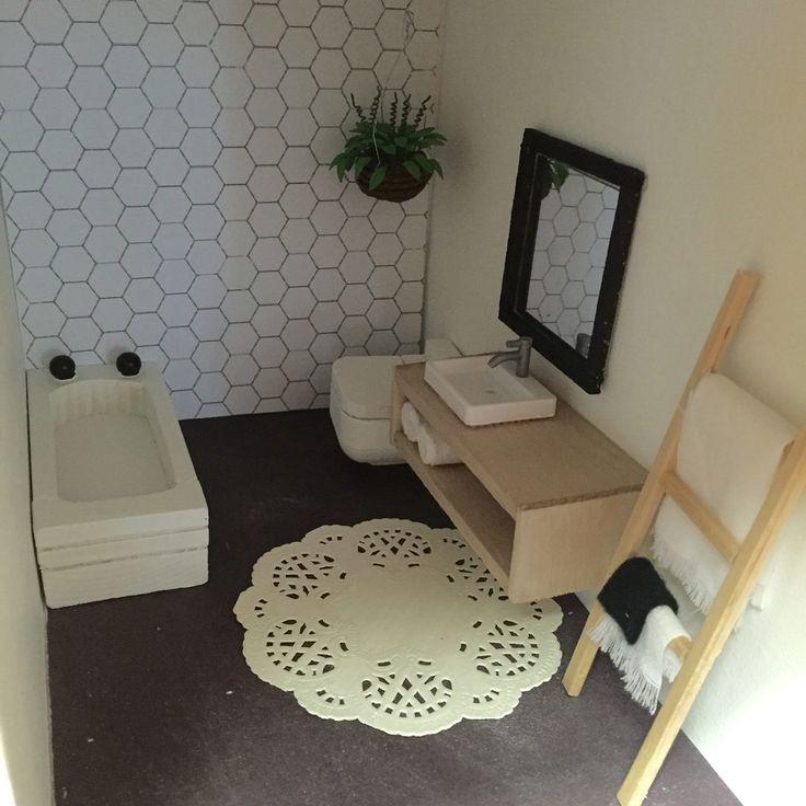 Dolls house renovation DIY modern miniature furniture 1:12 scale Instagram @onebrownbear