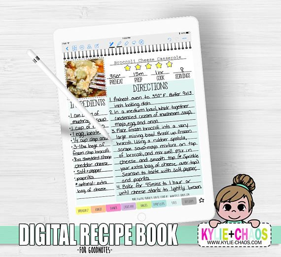 What You Get A Digital Recipe Book Pdf For Use With The Goodnotes App On Ipad And Iphones Recip Digital Recipe Book Recipe Book Cooking Games For Kids