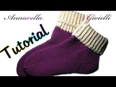 Calzettoni in lana a uncinetto - Tutorial in italiano.