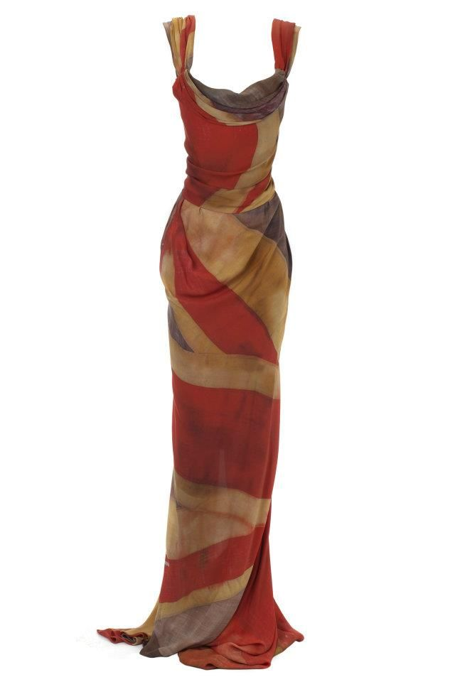 "Vivienne Westwood's ""Red Carpet Capsule Collection"" was designed to celebrate the Queen's Diamond Jubilee. ""The collection sees the British flag being reinvented into one of the most gorgeous corseted gowns ever."""