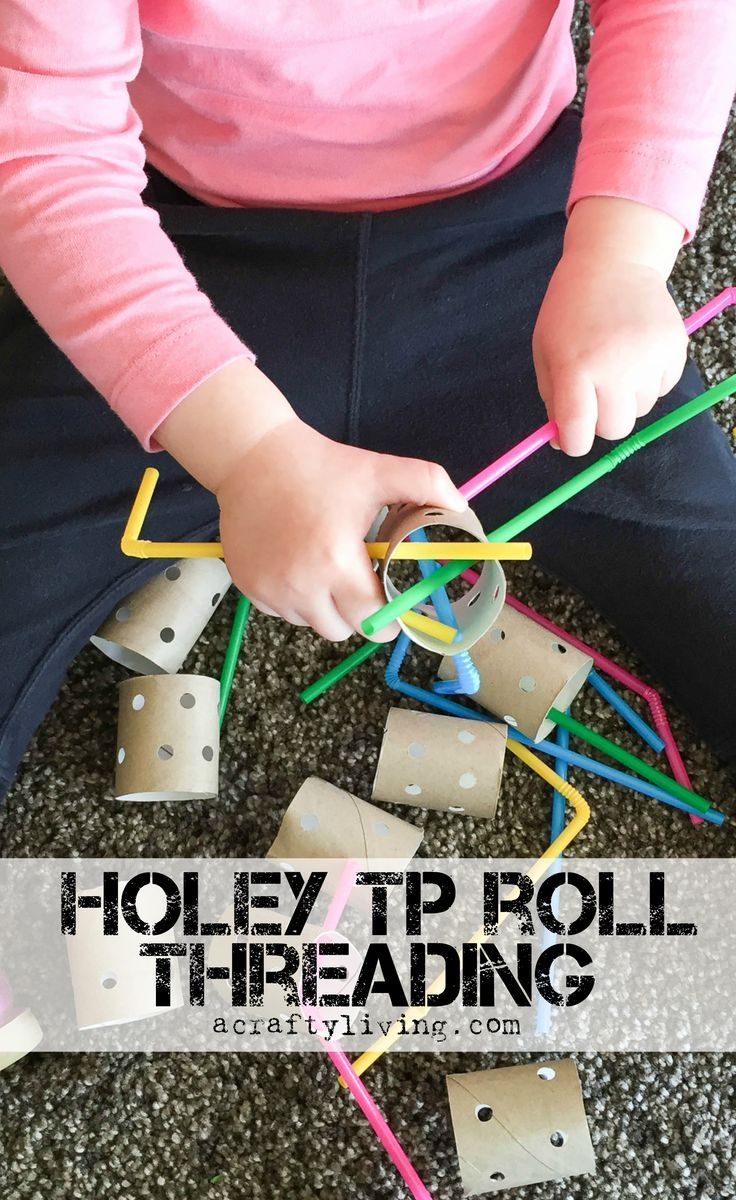 Holey TP Roll Threading with Straws! Inexpensive Fine Motor activity for Toddlers & Preschoolers! www.acraftyliving.com