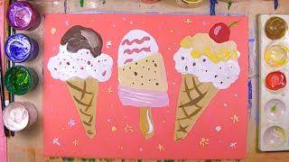 Как нарисовать мороженое - урок рисования для детей - лет Дети рисуют десерт…