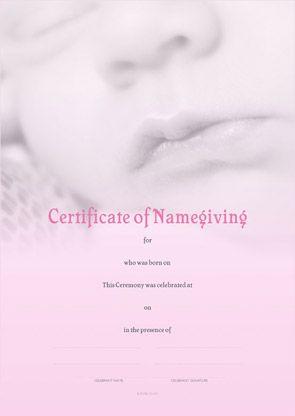 Naming Certificate - Pink Baby Lips design.