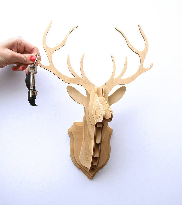wooden stag head trophy key hanger by clive roddy | notonthehighstreet.com