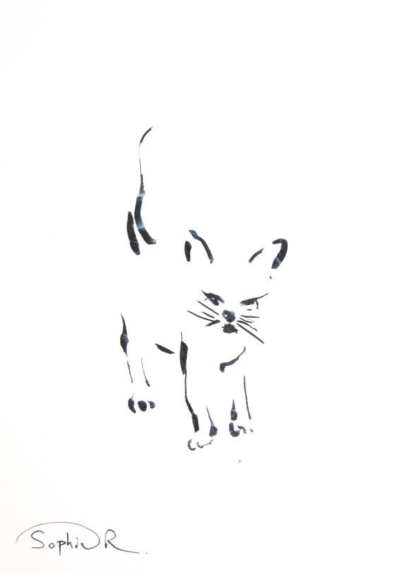 Cat Minimalist Drawing Original Drawing Cat Black and by CanotStop, $20.00