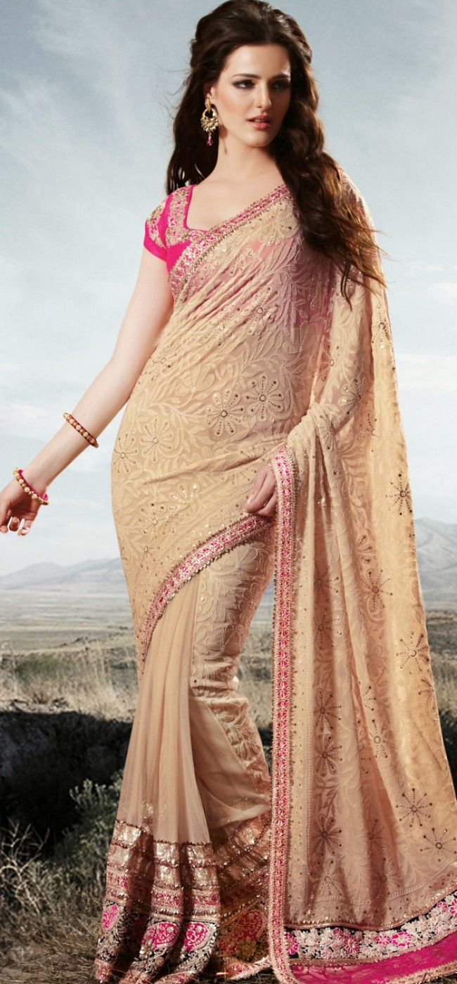 Hypnotic beige lucknowi style saree: KSR2445