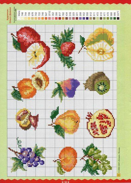 Bordados de frutas en punto de cruz04
