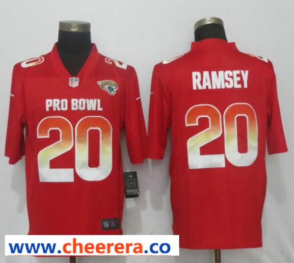 low priced 40281 9bf7a Nike AFC Jaguars 20 Jalen Ramsey Red 2019 Pro Bowl Limited ...