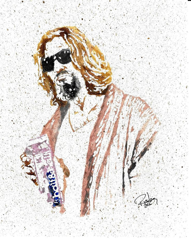 """HAND DRAWN Artist Watercolor Original 8"""" x 10"""" PRINT of Jeff Bridges as the Big Lebowski!! Available in 8X10, 11x14, and 20x30 Prints as well!! Great Gift Idea!. HAND DRAWN Artist watercolor portrait 8"""" x 10"""" PRINT of Jeff Bridges as the Big Lebowski!! RJL Designz proudly offers 11X14, and 20X30 UNFRAMED LIMITED EDITION Prints of this original as well, each individually numbered and signed by the Artist."""