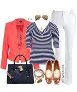 Plus Size Coral Blazer Outfit - Plus Size Fashion - AlexaWebb.com #alexawebb