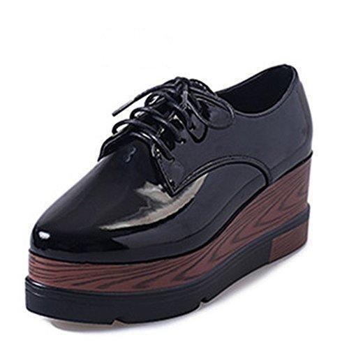 Oferta: 19.99€ Dto: -67%. Comprar Ofertas de RoseG Zapatos Creepers Cordones Cuña Plataforma Mujer Negro Size37 barato. ¡Mira las ofertas!