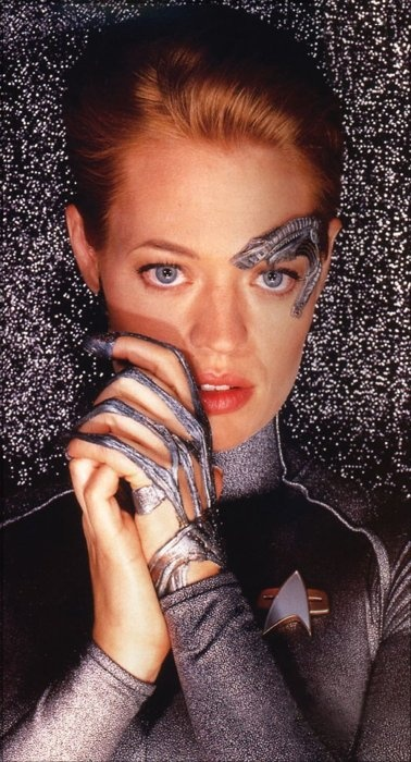 """Seven of Nine - """"I am no longer Borg, but the prospect of becoming human is unsettling. I don't know where I belong."""""""