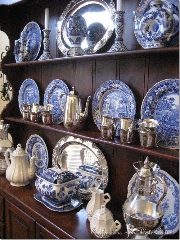 blue and white china display