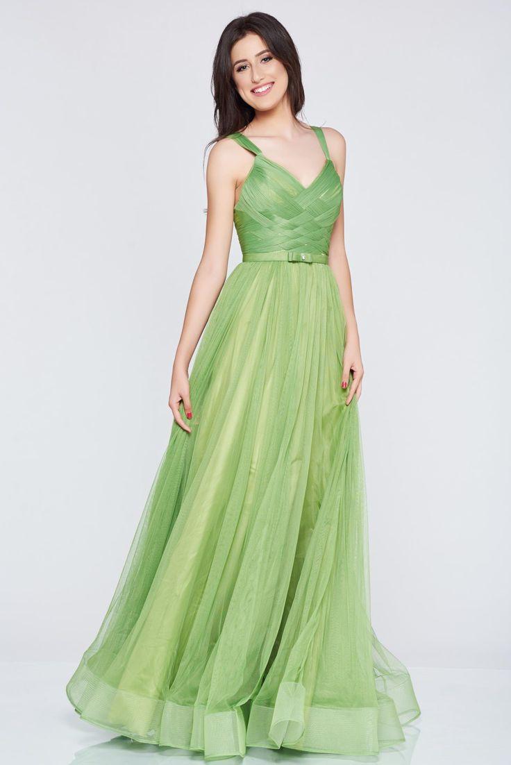 Comanda online, Rochie de seara cu bretele Ana Radu verde accesorizata cu pietre stras. Articole masurate, calitate garantata!