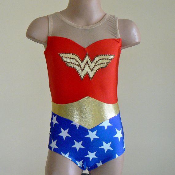 Wonder Woman Inspired Toddlers Girls Leotard Size 2T through Girls 10 on Etsy, $49.00