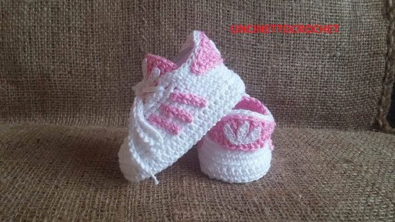 Baby crochet adidas-newborn sneakers by uncinettocrochet on Etsy
