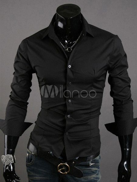 Black Pure Cotton Men's Casual Shirt - Milanoo.com