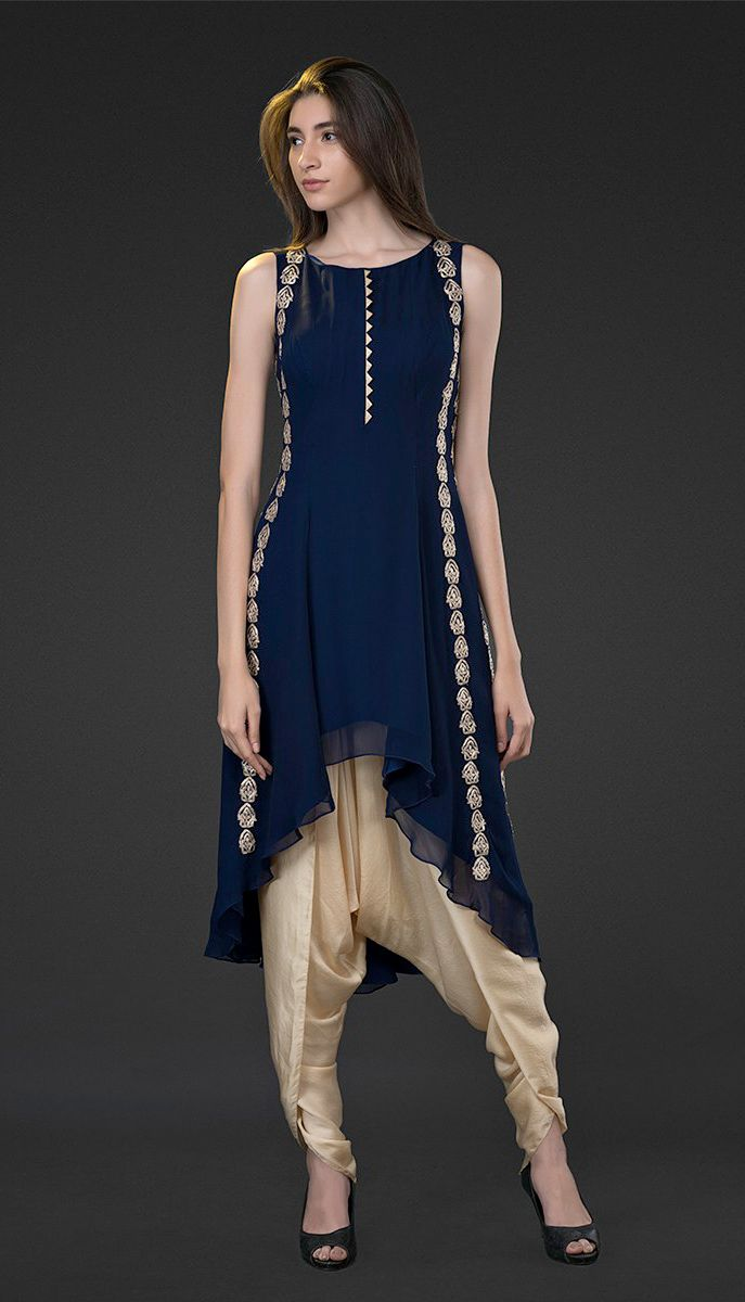 BLUE ASYMMETRICAL TUNIC WITH DHOTI
