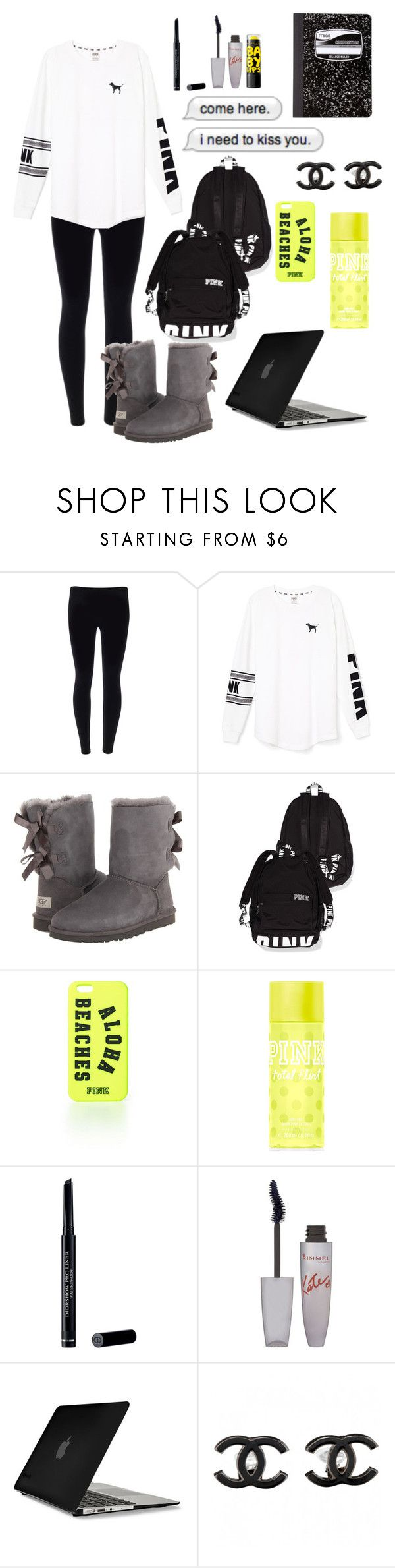 """""""PINK ellie"""" by thedisneyschool ❤ liked on Polyvore featuring Victoria's Secret PINK, UGG Australia, Victoria's Secret, Christian Dior, Rimmel, Maybelline, Speck, Chanel, Mead and Cotton Candy"""