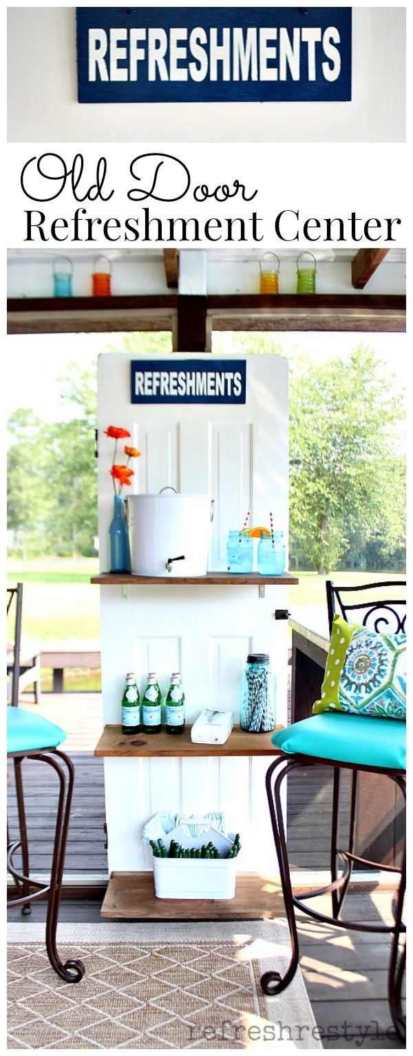 Use and old door to create a refreshment center. #modernmasters #olddoor #door #upcycle #refreshments #beveragecenter
