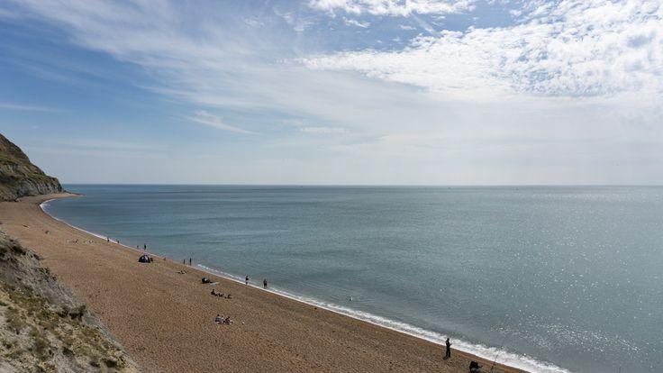 Shoreline of the pebble beach at Golden Cap, Dorset, England