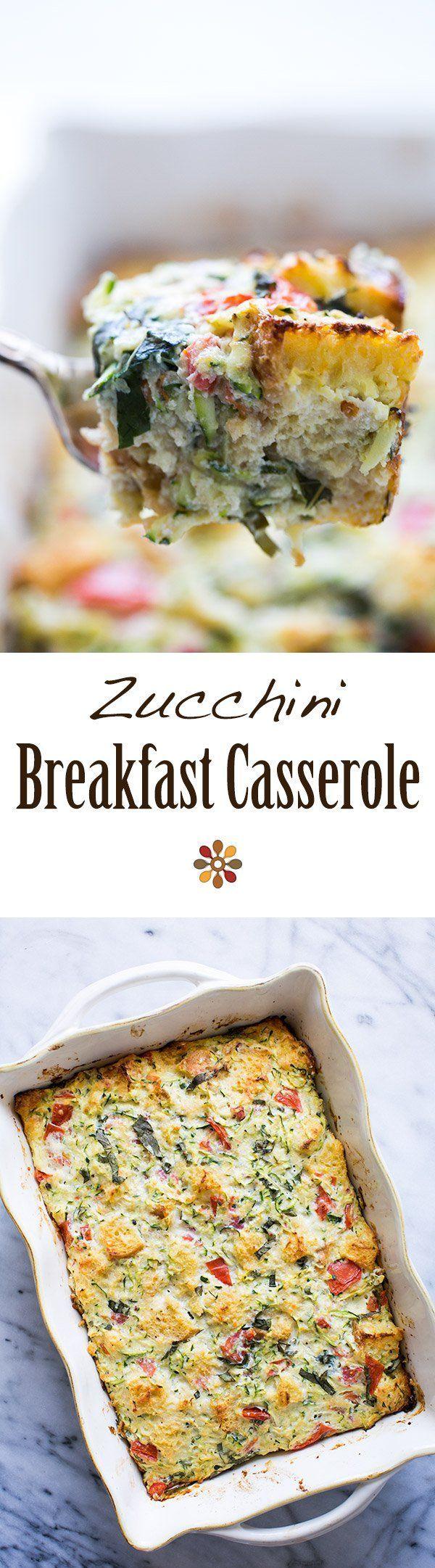 Zucchini Breakfast Casserole - Savory zucchini casserole with eggs, ricotta cheese, Parmesan, plum tomatoes, bread, and basil. Zucchini ricotta strata.