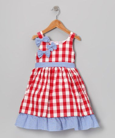 Take a look at this Blue & Red Gingham Bow & Ruffle Dress - Toddler & Girls by Gidget Loves Milo on #zulily today!