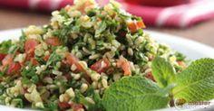 Scopri la ricetta: tabbouleh. Ingredienti: Pomodori, Cipolla bianca, Olio extravergine di oliva, Succo di limone, Bulgur, Prezzemolo, Sale fino, Menta, Pomodorini ciliegino.
