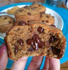 Healthy protein flourless peanut butter choc chip blender muffins - and all you need is 8 simple ingredients