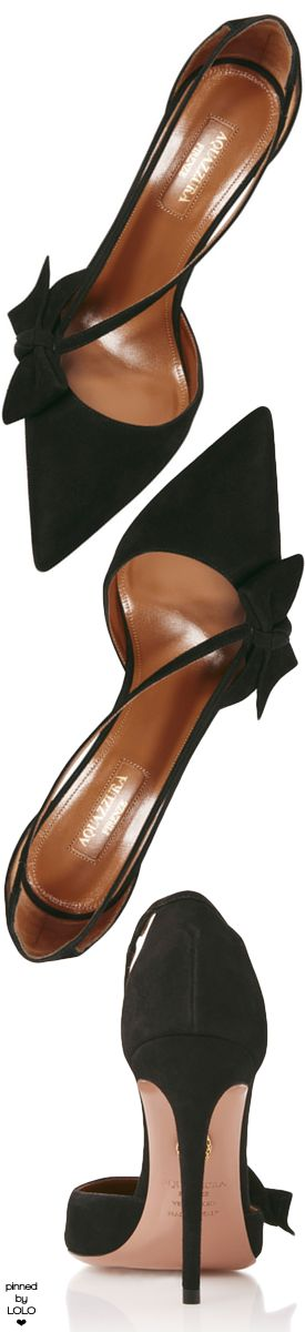 Aquazzura Bow-Embellished Suede Pumps
